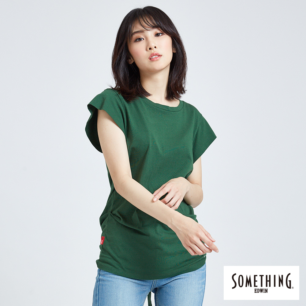SOMETHING 後綁結設計 短袖T恤-女-綠