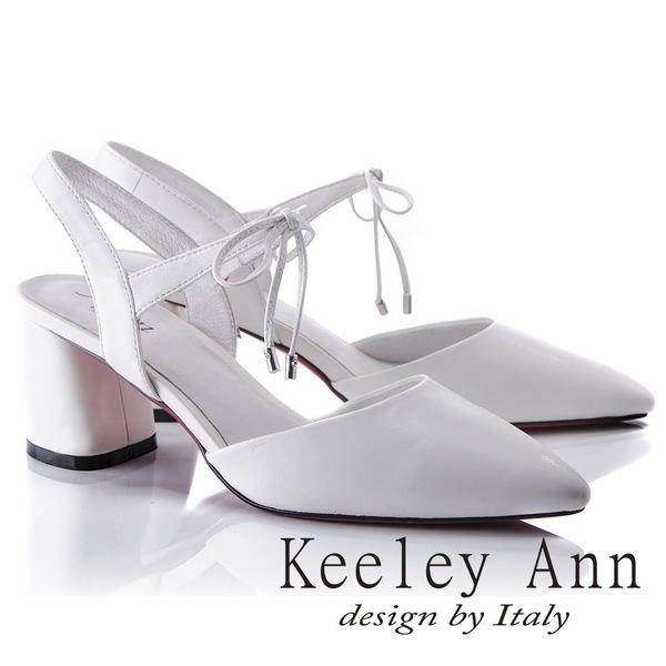 Keeley Ann時尚潮流~簡約蝴蝶結綁帶素色全真皮粗中跟尖頭鞋(白色824772440-Ann系列)