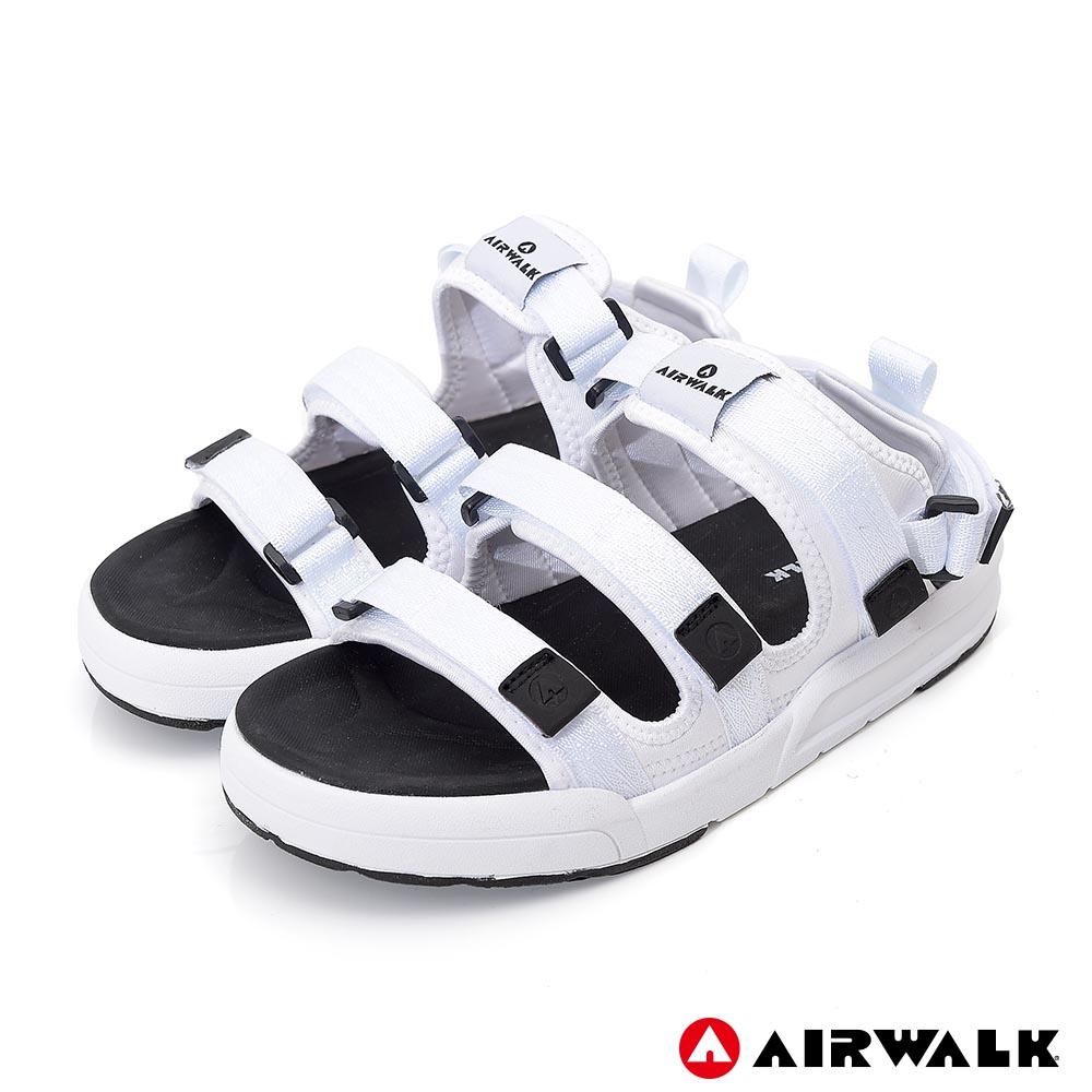【AIRWALK-快速到貨】魔鬼氈增高二穿式涼鞋-情侶款(白色)