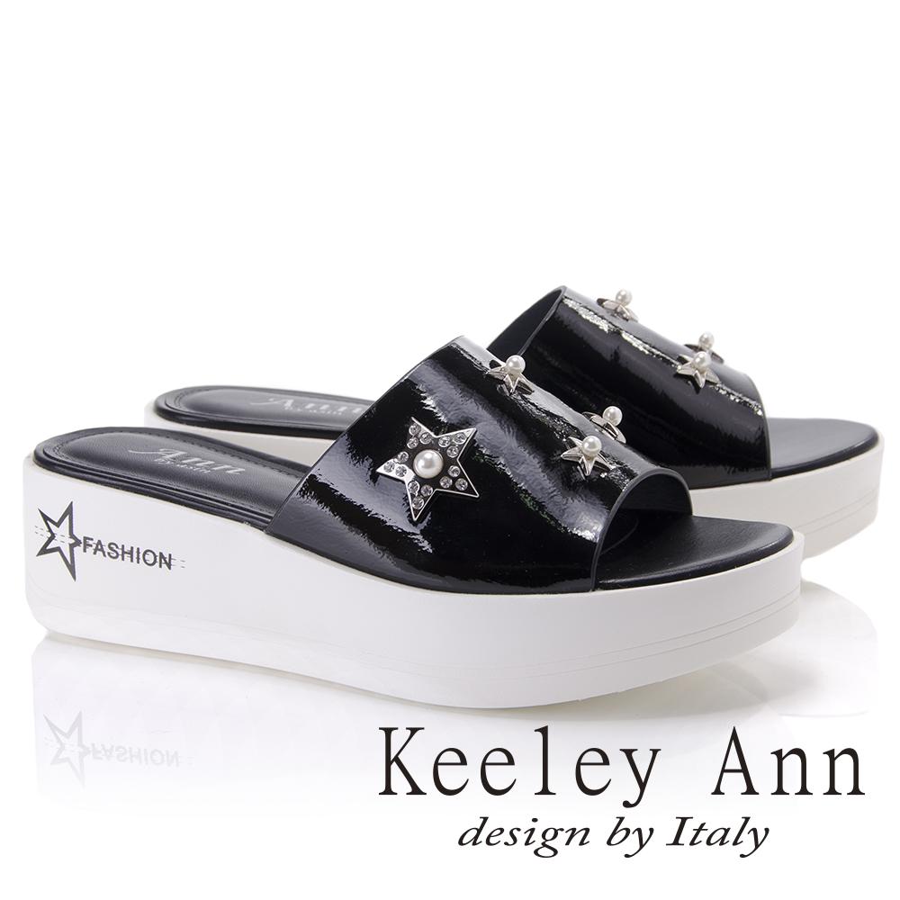 Keeley Ann個性玩酷~金屬星星寶石點綴厚底拖鞋(黑色821777210-Ann系列)