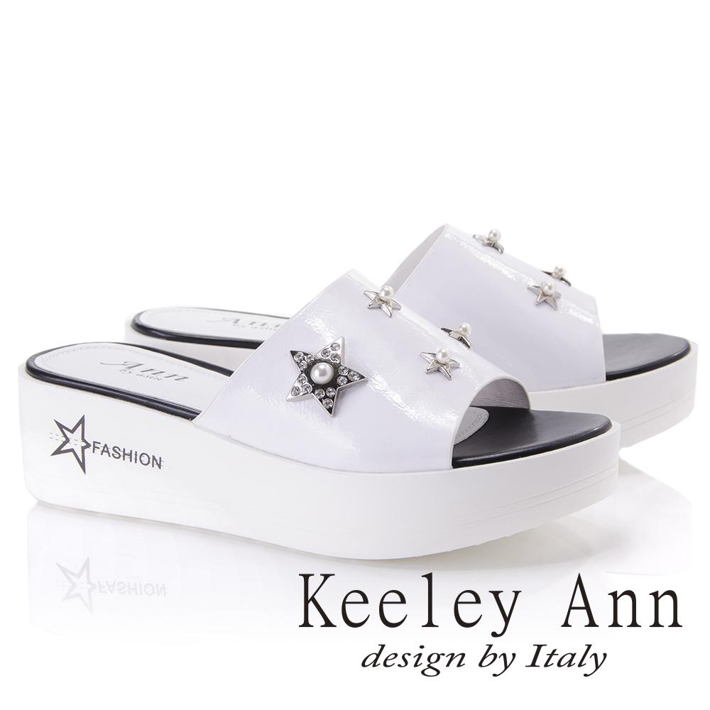 Keeley Ann個性玩酷~金屬星星寶石點綴厚底拖鞋(白色821777240-Ann系列)