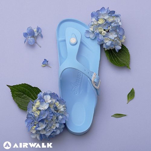 【AIRWALK-快速到貨】(女) -AB拖 EVA中性T字羅馬夾腳拖鞋-島嶼天堂藍