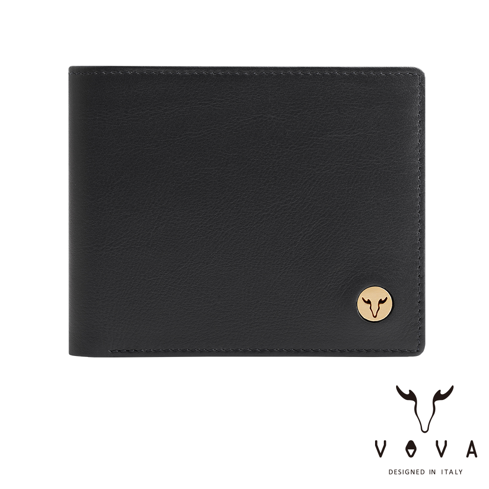 VOVA 費城系列9卡中間翻皮夾(摩登黑)VA118W004BK