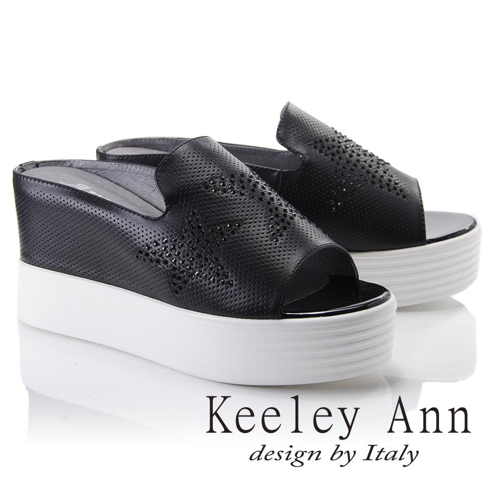 Keeley Ann簡約美學~全真皮星星水鑽厚底拖鞋(黑色821972110-Ann系列)