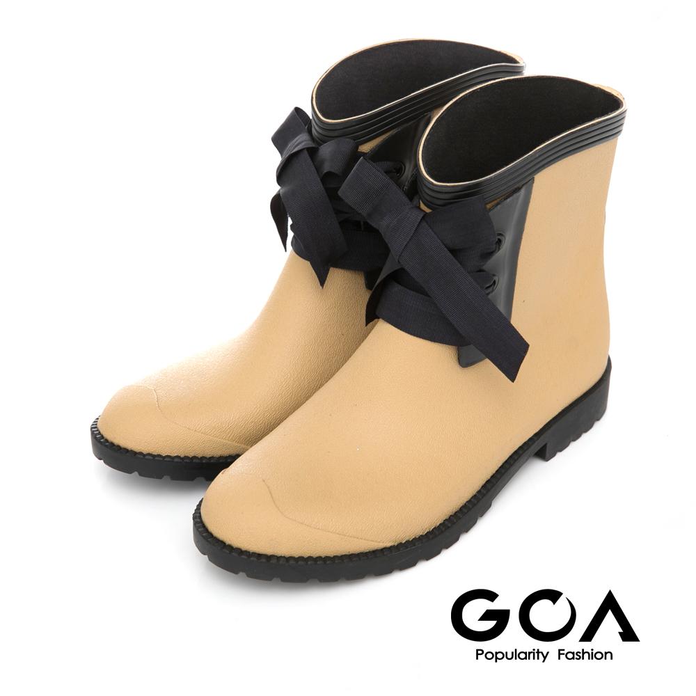(快速到貨)GOA 百搭素面精靈綁帶短筒雨靴-米色