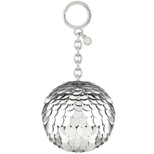 MICHAEL KORS Disco Pom亮片球球鑰匙圈吊飾-銀色