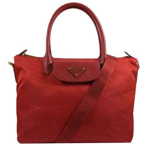 PRADA  經典三角LOGO尼龍帆布手提斜背兩用包.紅