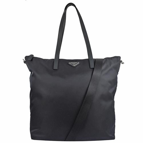 PRADA 三角LOGO尼龍帆布兩用托特購物包.深藍