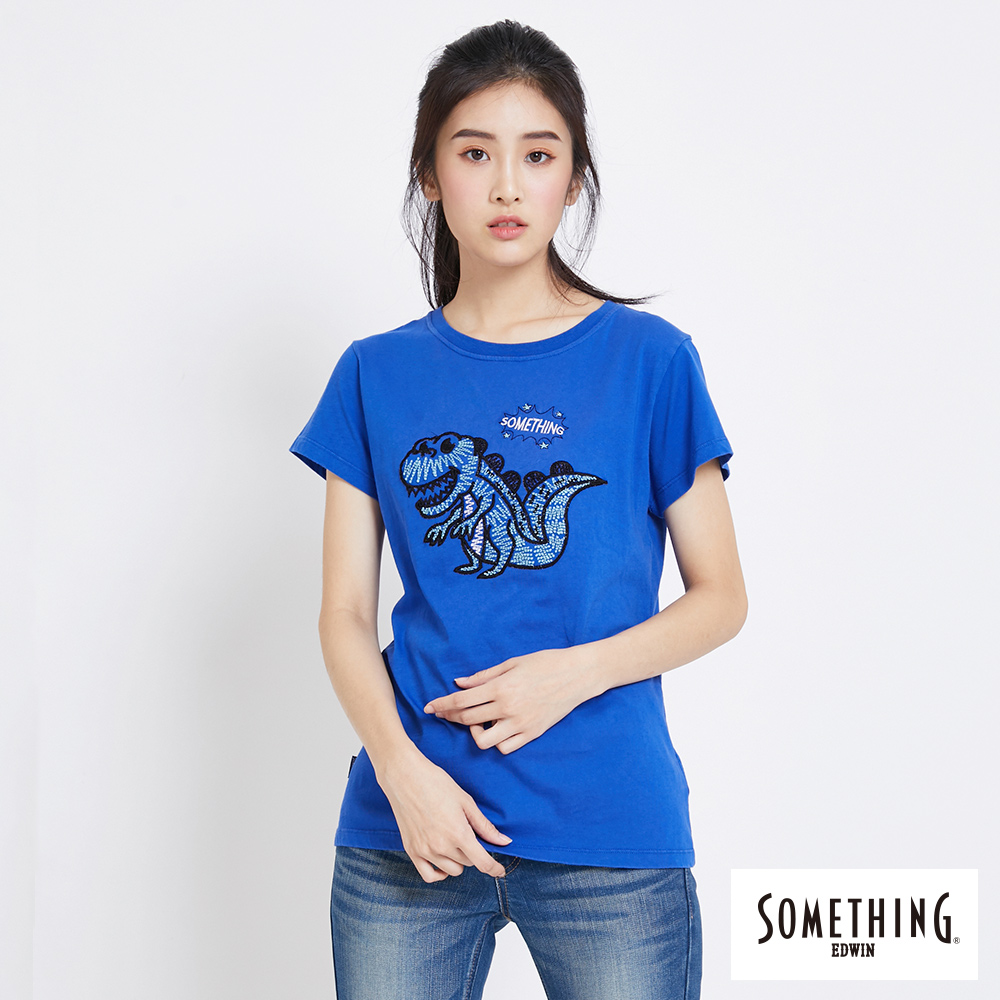 SOMETHING 俏皮恐龍刺繡短袖T恤-女-藍色