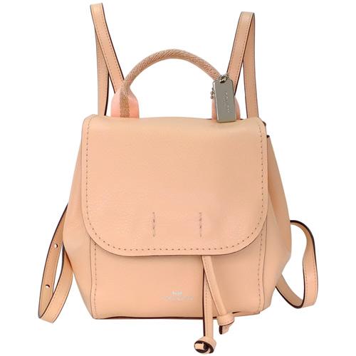 COACH蜜粉色柔軟全皮多重搭配斜背/後背水桶包(小)