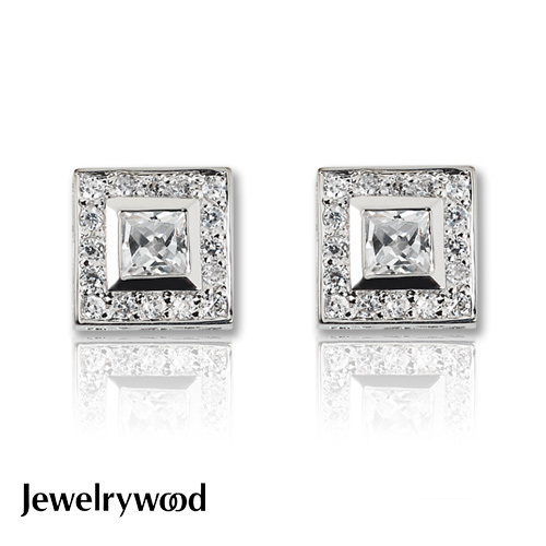 Jewelrywood 純銀方寸晶鑽耳環