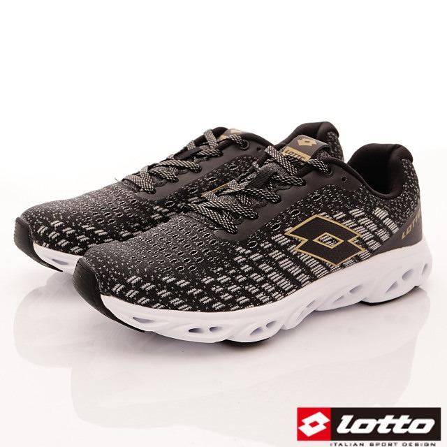 Lotto義大利運動鞋-風動緩震跑鞋-MR6600黑灰金-25.5-29cm