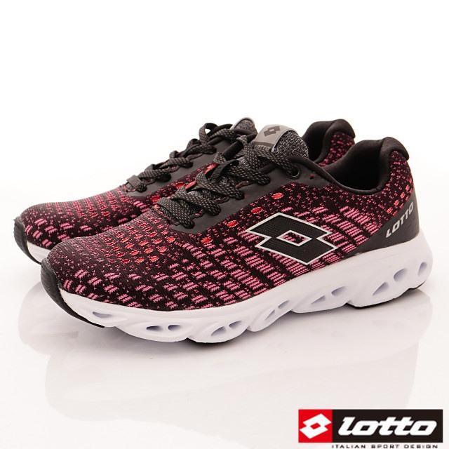 Lotto義大利運動鞋-風動緩震潮流鞋-WR6612黑桃紅-23-25.5cm