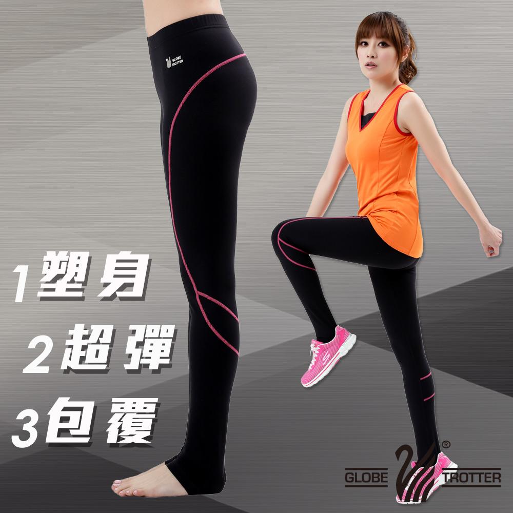 【遊遍天下】MIT台灣製3D彈力塑身吸排機能韻律褲P111-1黑色