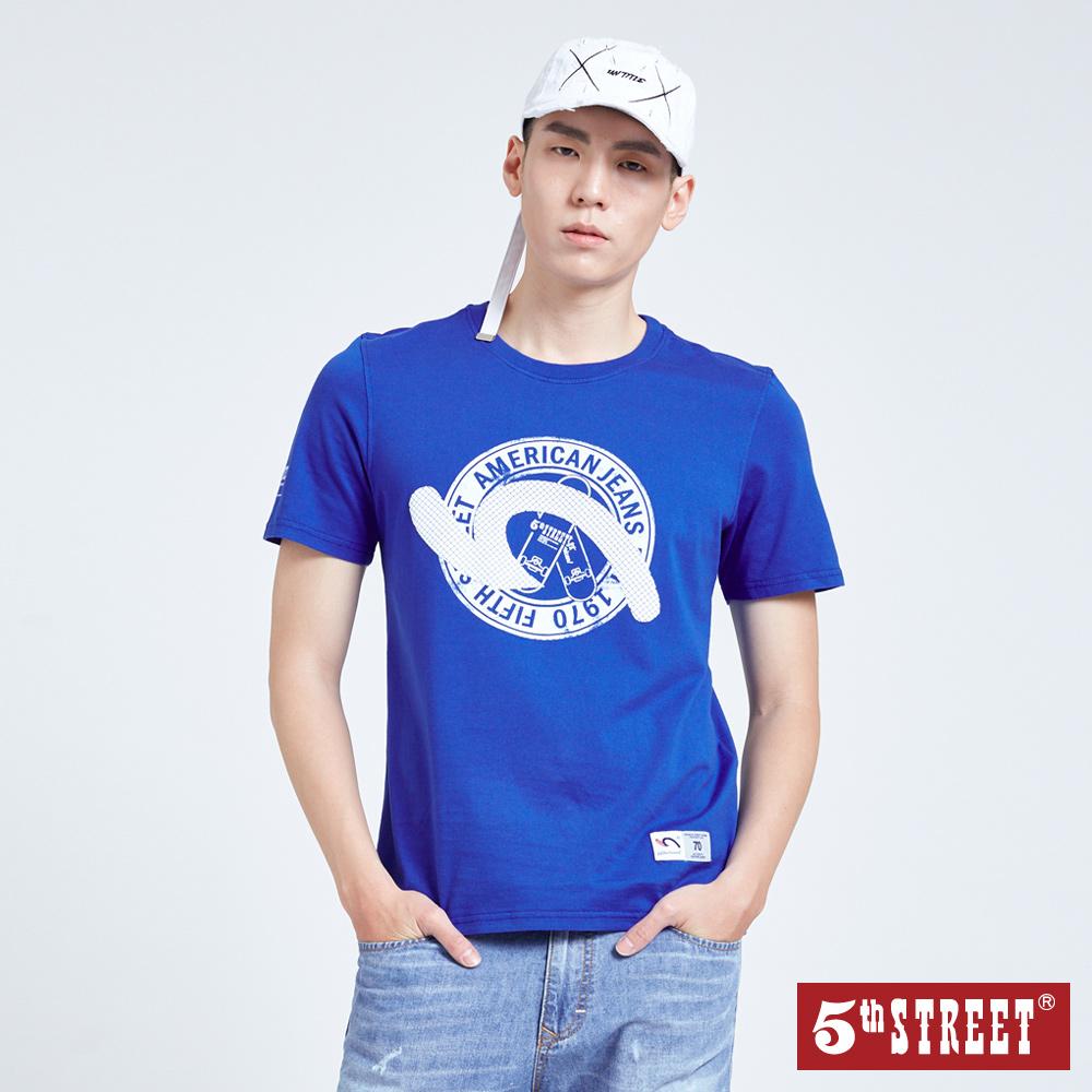 5th STREET 滑板繡花短袖T恤-男-寶藍