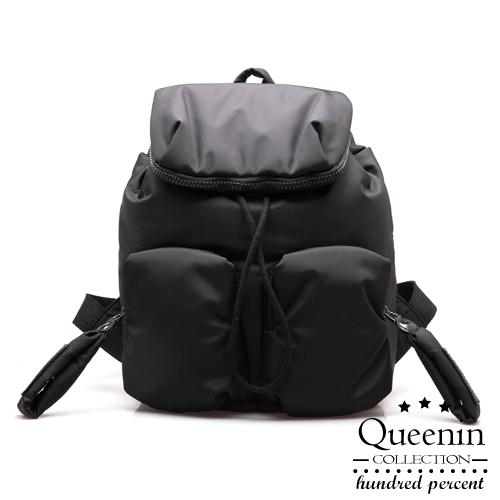 DF Queenin日韓 - 日雜簡約空氣感加棉後背包-共2色