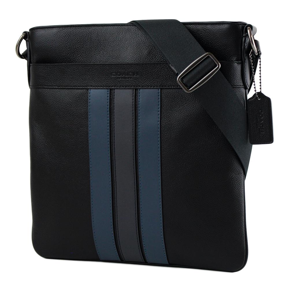 COACH 男款 藍黑線條荔枝紋真皮斜背扁包-黑色