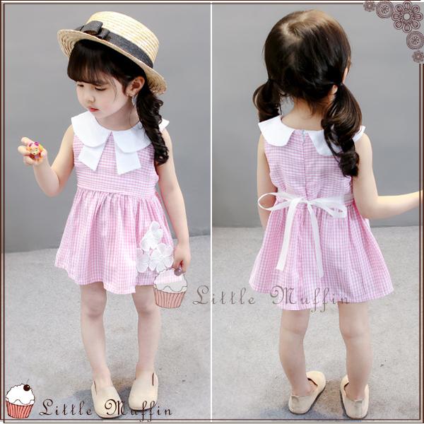 甜美氣質 娃娃領花朵粉格夏季無袖洋裝