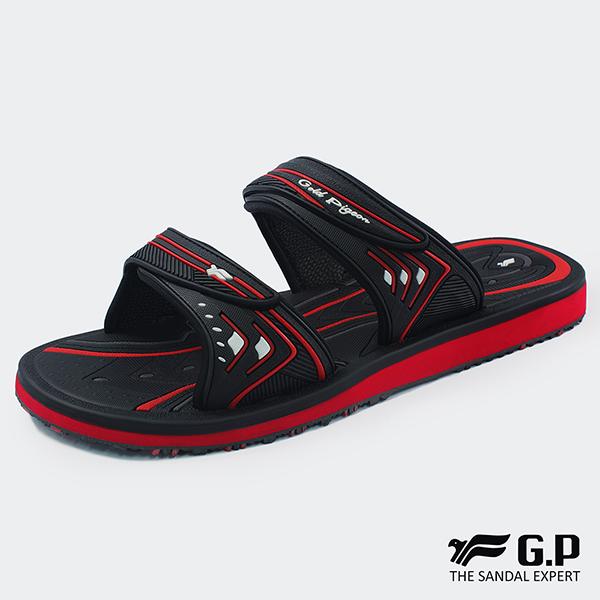 【G.P 男款高彈性舒適雙帶拖鞋】G8548M 黑紅色 (SIZE:40-44 共三色)