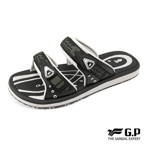 【G.P 男款時尚休閒織帶雙帶拖鞋】G8550M 黑灰色 (SIZE:40-44 共二色)