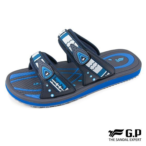 【G.P 男款時尚休閒織帶雙帶拖鞋】G8550M 藍色 (SIZE:40-44 共二色)