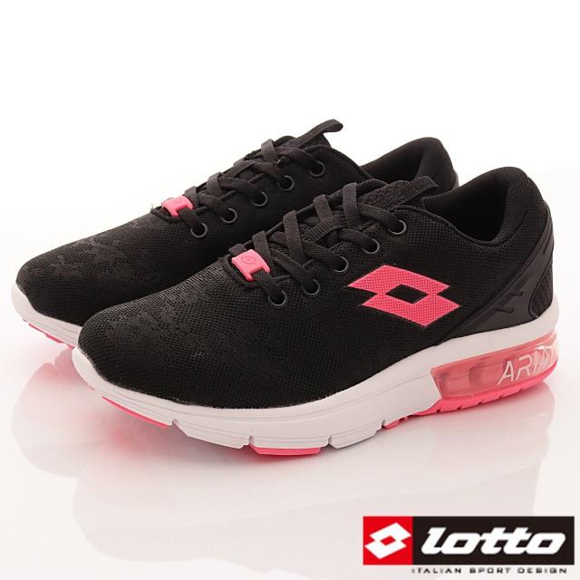 Lotto義大利運動鞋-半氣墊緩震潮流鞋-WR6620黑-23-25.5cm