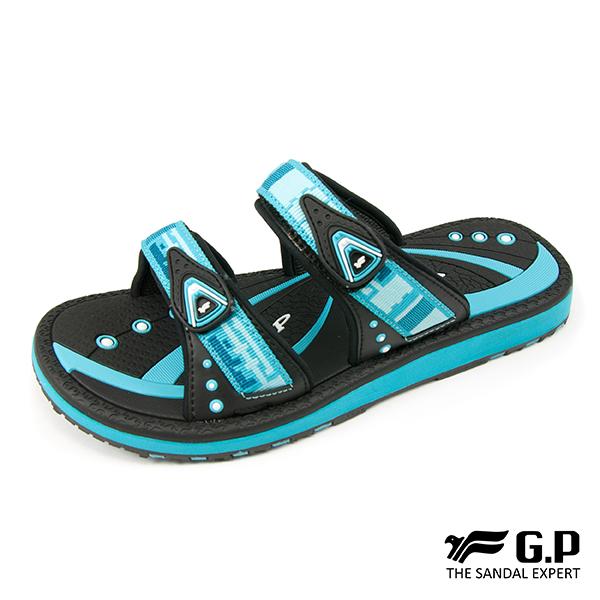 【G.P 女款時尚休閒織帶風雙帶拖鞋】G8550W-淺藍色(SIZE:36-39 共三色)