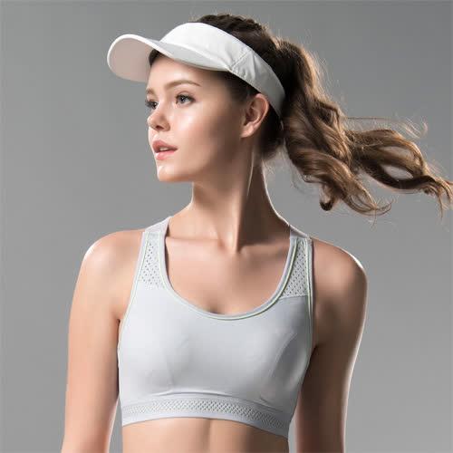 華歌爾-專業系列 A-B 罩杯無鋼圈M-3L運動胸罩(灰)背心式-避震舒適