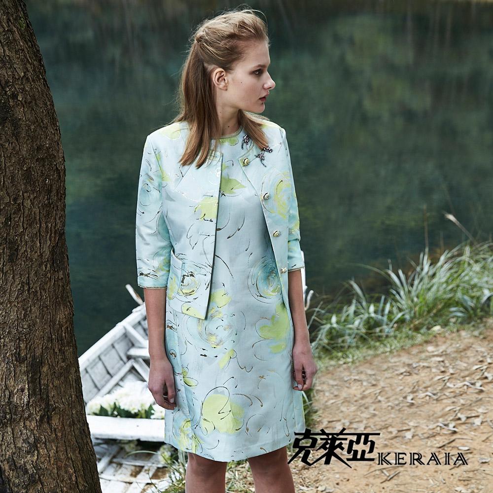 【克萊亞KERAIA】金蔥水彩緹花短洋裝