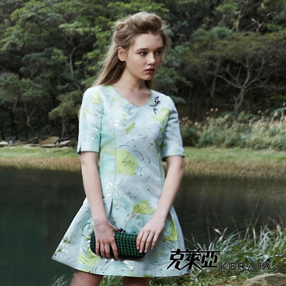【克萊亞KERAIA】金蔥水彩緹花低腰洋裝