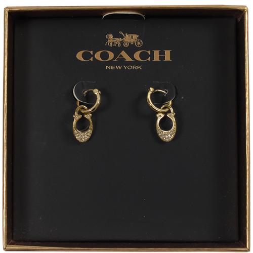 COACH 時尚新款 C LOGO鑲鑽耳環.金