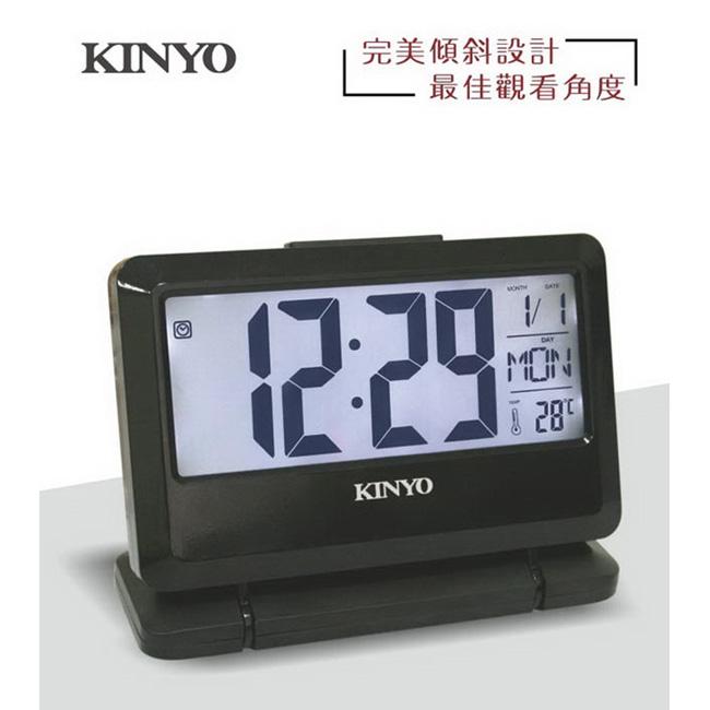 【KINYO】大字幕可傾斜LCD多功能電子鐘 (TD-391)
