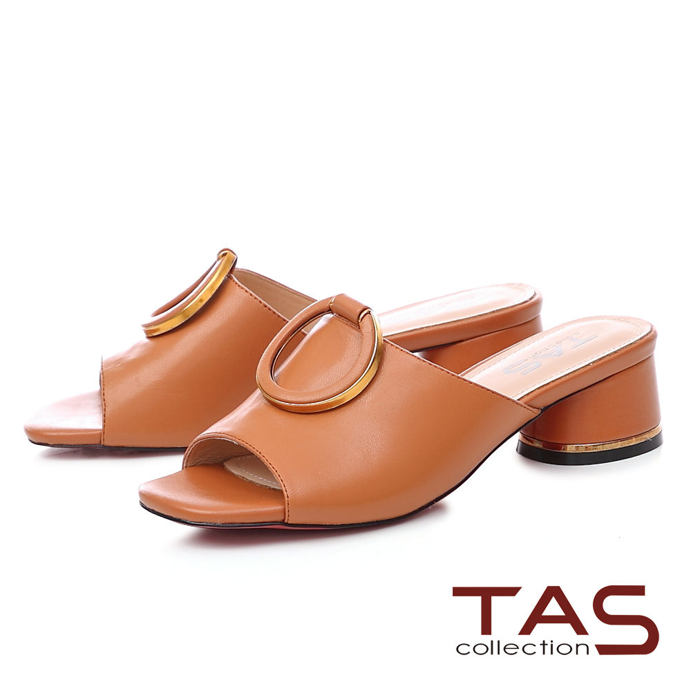 TAS金屬滾邊大扣寬版繫帶粗跟涼拖鞋-質感棕