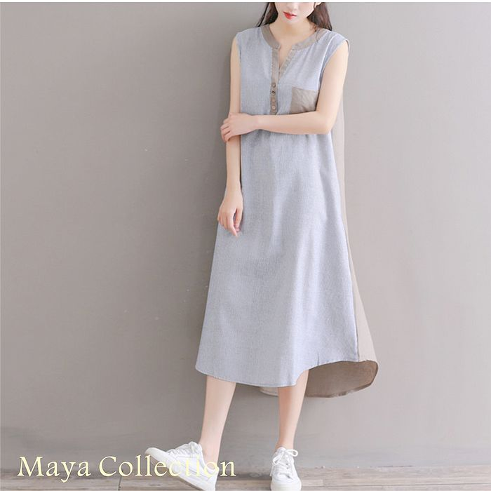 【Maya Collection】M~2XL棉麻日系質感背心長洋裝