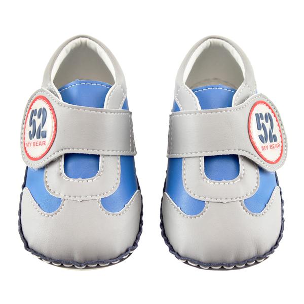 【愛的世界】LW動感小子寶寶鞋/學步鞋(灰藍色)-台灣製-
