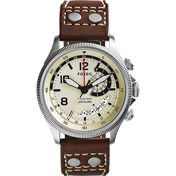 FOSSIL Recruiter GMT 飛行家時尚腕錶-米色x咖啡/43mm FS5043