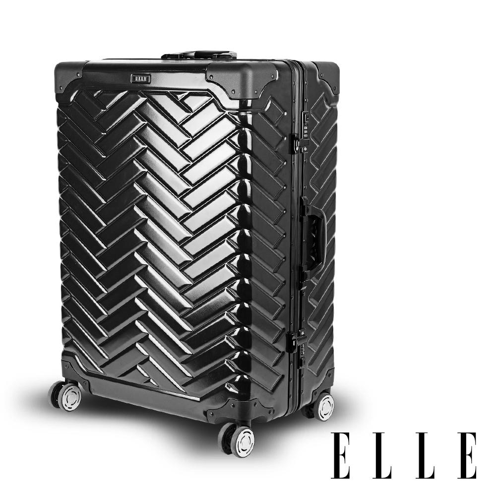 ELLE CHOCOLATE經典鋁框系列-24吋霧面ABS+PC行李箱- 岩墨黑 EL31203