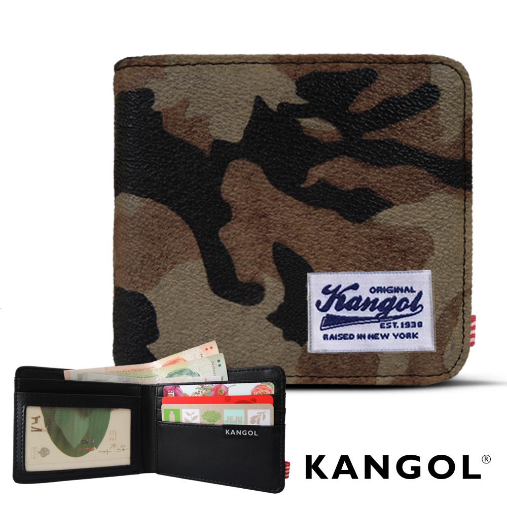 KANGOL 韓式潮流-多夾層橫式短皮夾+鑰匙圈禮盒- 迷彩咖 KG1162