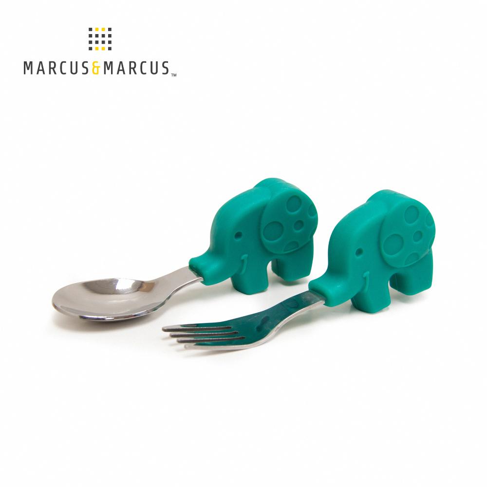 【MARCUS&MARCUS】動物樂園寶寶手握訓練叉匙-大象(綠)