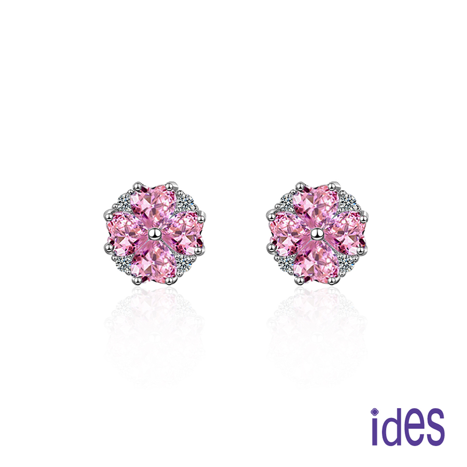 ides愛蒂思 歐美設計粉紅剛玉晶鑽耳環/幸運草戀曲