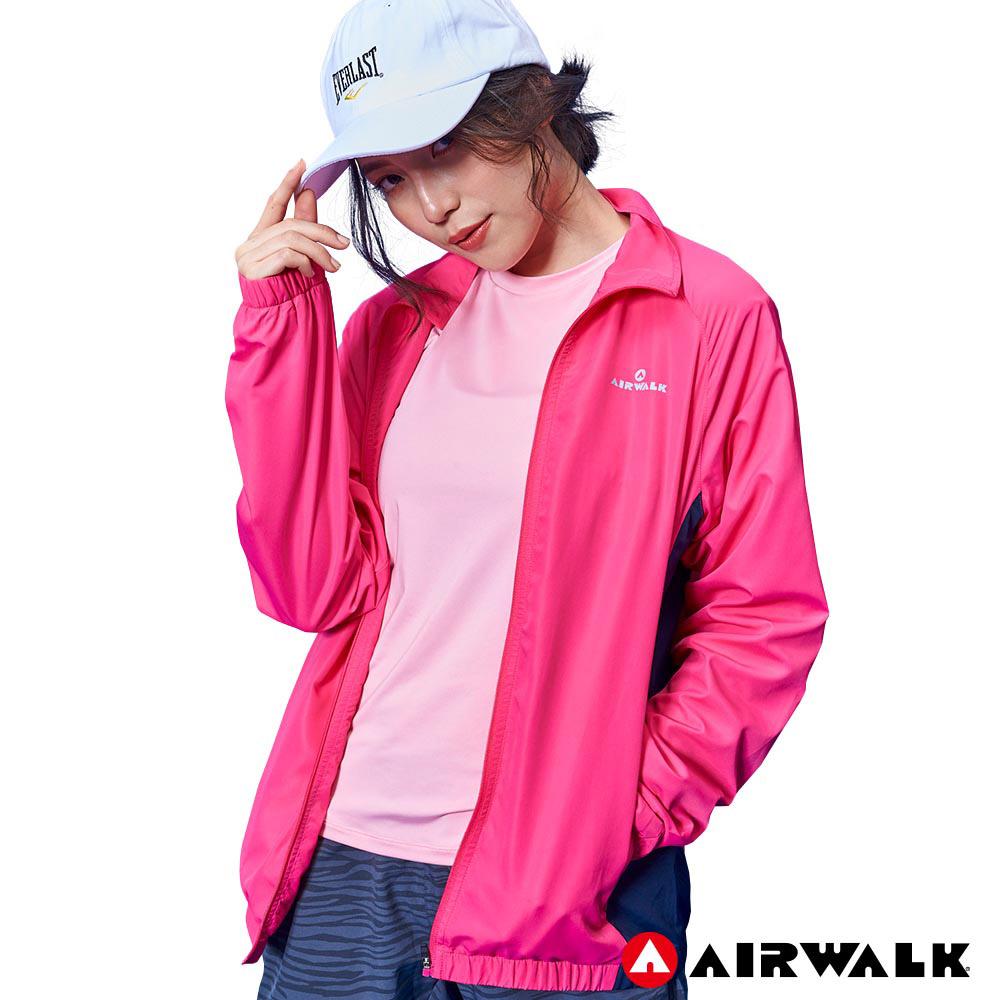 【AIRWALK】女款立領風衣外套- 桃紅