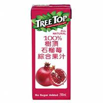 箱購【樹頂】100%石榴莓綜合果汁 利樂包 200ML / 24入