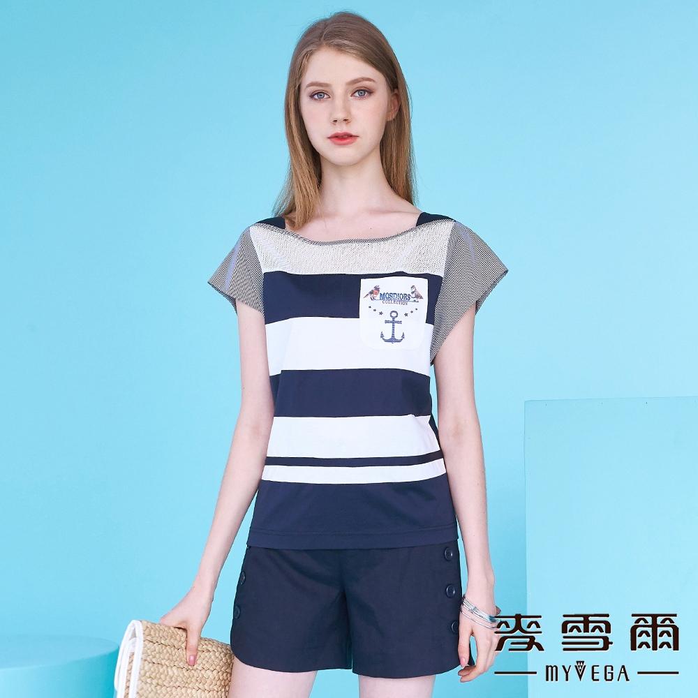 【麥雪爾】純棉丈青條紋織圖騰上衣
