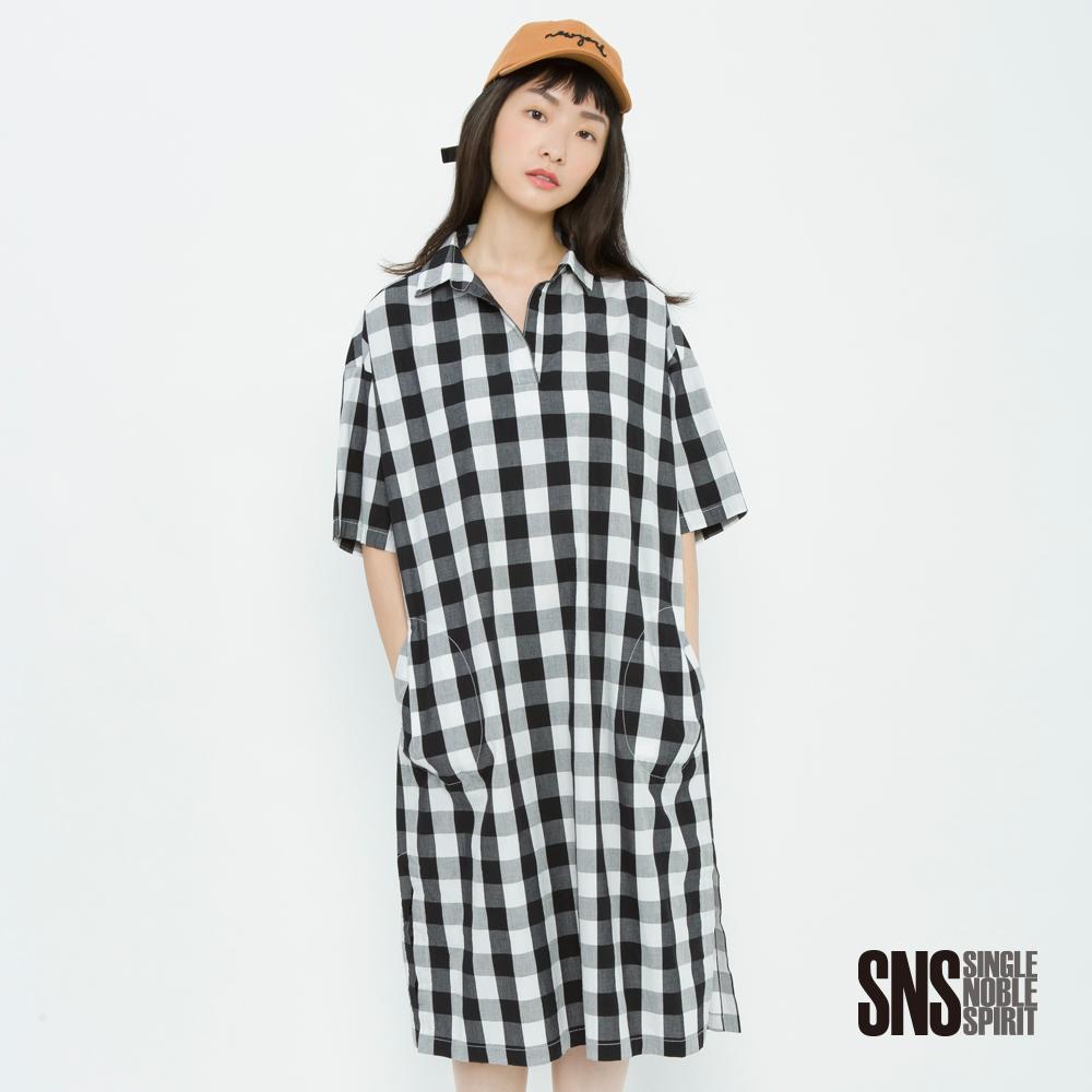 SNS 率真自在長版格紋襯衫洋裝(2色)