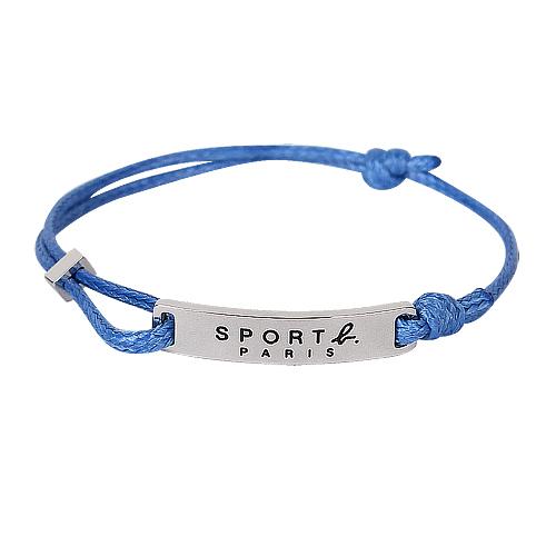 agnes b. - SPORT b銀鐵牌造型手鍊(藍)