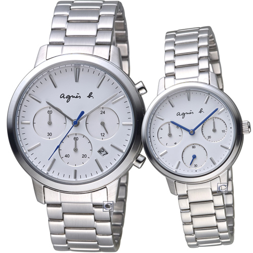 agnes b. 編織愛戀時尚對錶 VD53-KJC0S+VD75-KPZ0S