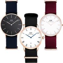 DW Daniel Wellington 帆布時尚系列腕錶(紅帶/藍帶)