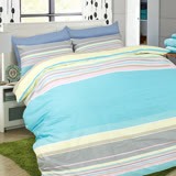 【I-JIA Bedding】H204 藍色珊瑚-純棉床包兩用被組三件組-單人