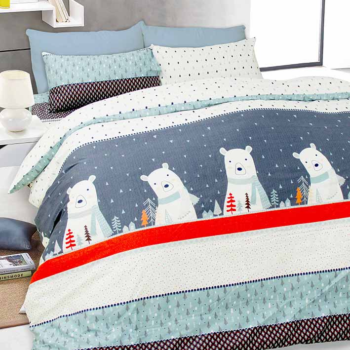 【I-JIA Bedding】H201 雪國派對-純棉床包兩用被組四件組-雙人加大