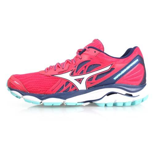 (女) MIZUNO WAVE INSPIRE 14 慢跑鞋-路跑 訓練 美津濃 紅白丈青